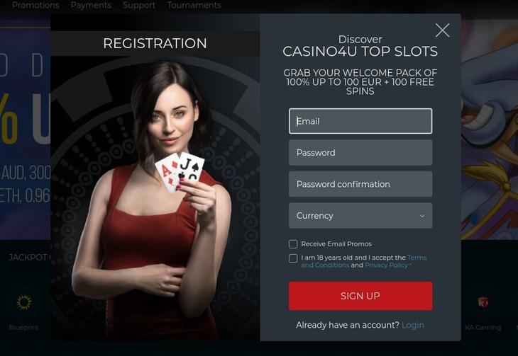 Trin for trin oprettelse hos Casino4u.io