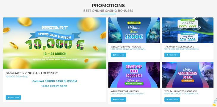 Wolfy Casino bonus og free spins